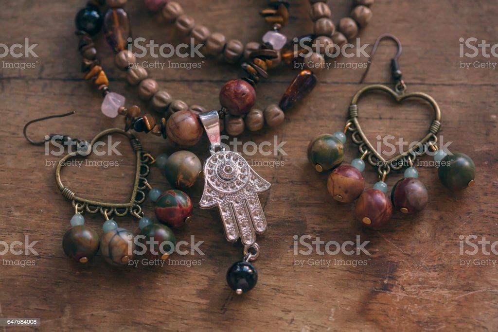 Beautiful bohemian jewelry stock photo