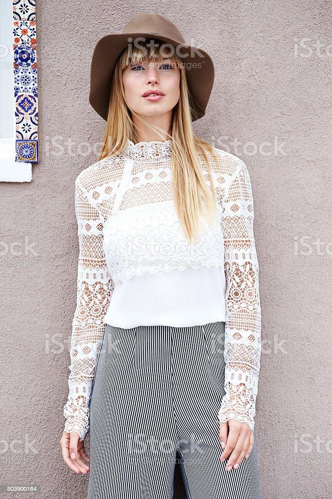 Beautiful boho styled babe stock photo