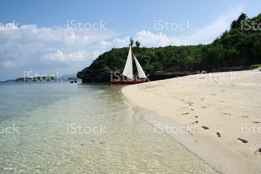 beautiful boracay beach sailboat philippines royalty-free stock photo