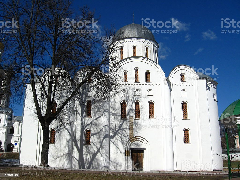 Beautiful Boriso-Glebsky cathedral in Chernihiv stock photo