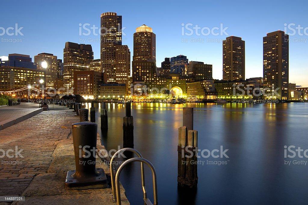 Beautiful boston harbor at night stock photo
