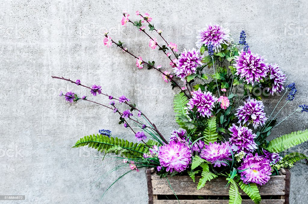 beautiful bouquet of chrysanthemums in a wooden box stock photo