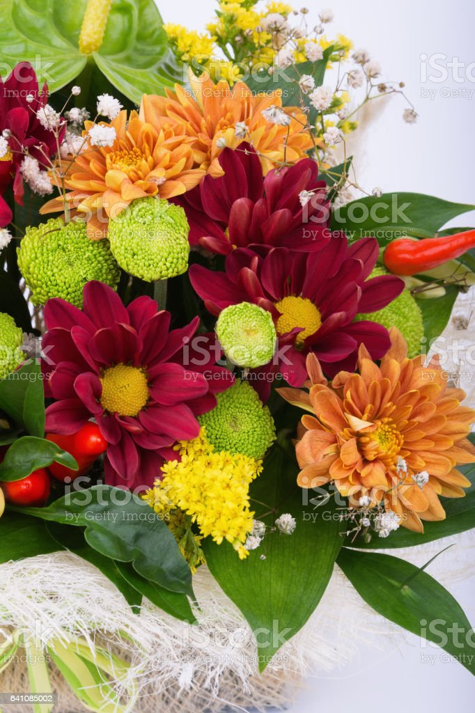 Beautiful bouquet of colorful flowers on white background stock photo