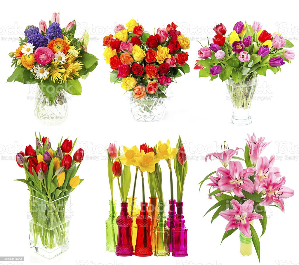 beautiful bouquet of colorful flowers over white stock photo