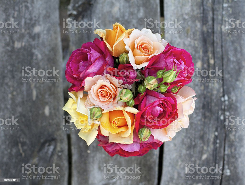 beautiful bouquet of different roses stock photo