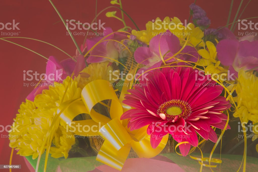beautiful bouquet of gerbera flowers and chrysanthemum on a diff stock photo