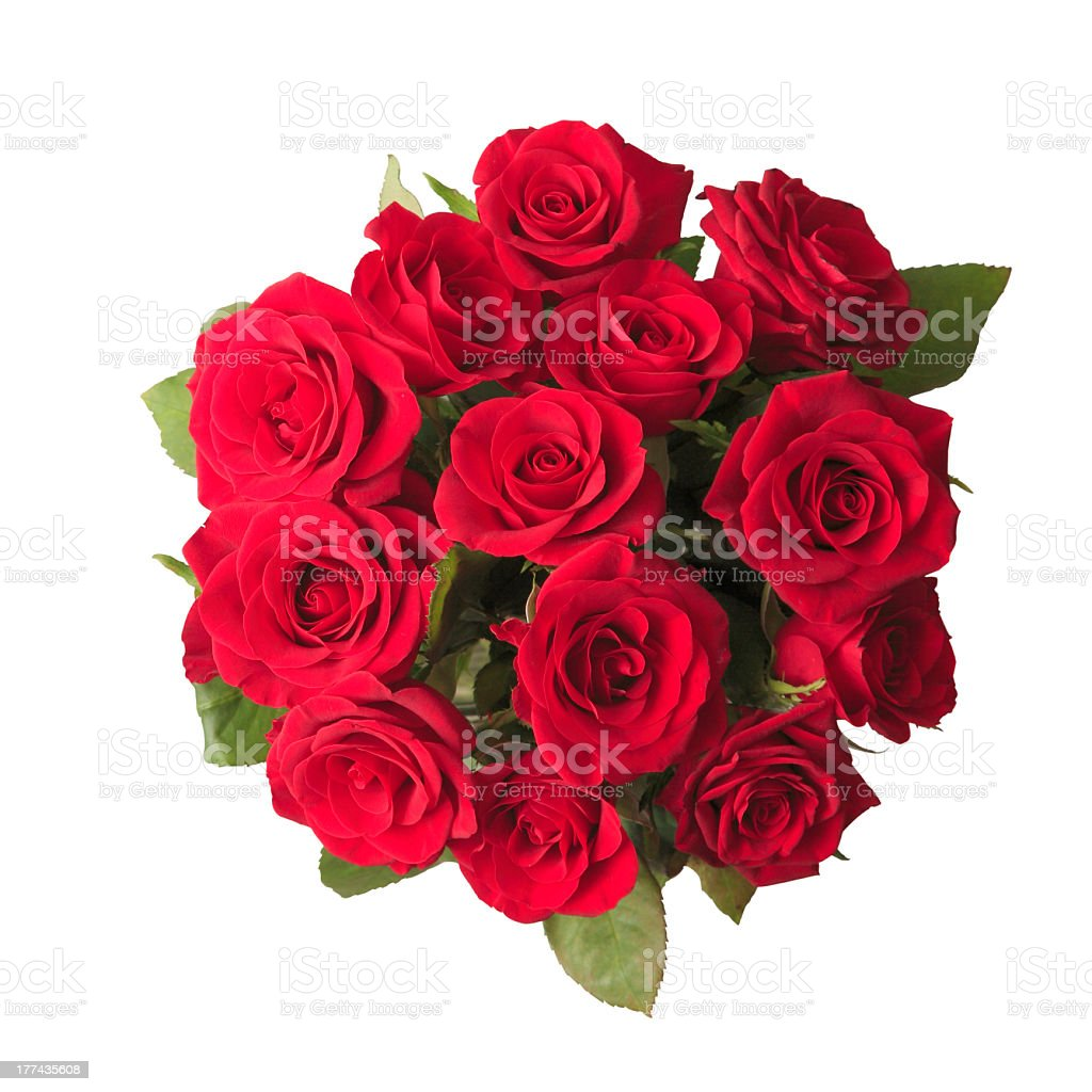 A beautiful bouquet of red roses stock photo