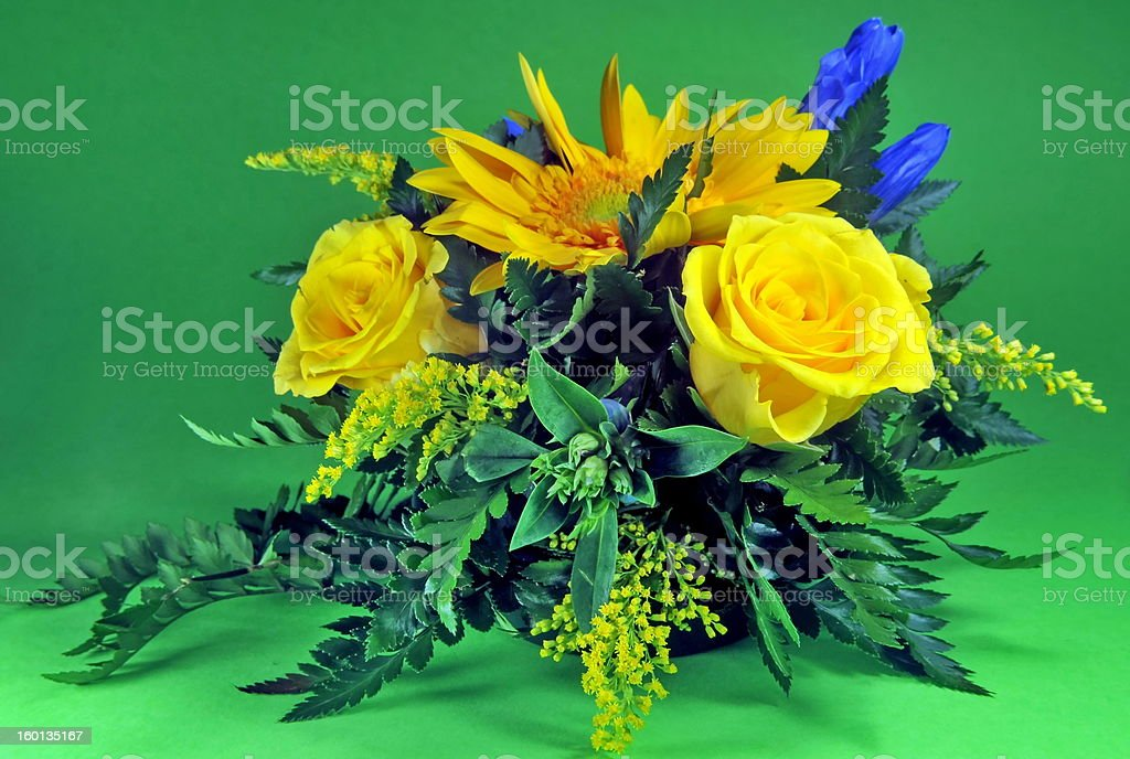 Beautiful bouquet on green background royalty-free stock photo