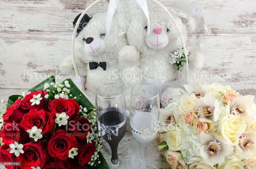 Beautiful bouquets of roses for a wedding stock photo