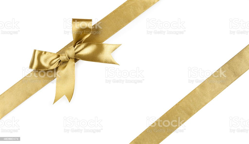 Beautiful bow gold color isolated on white background stock photo
