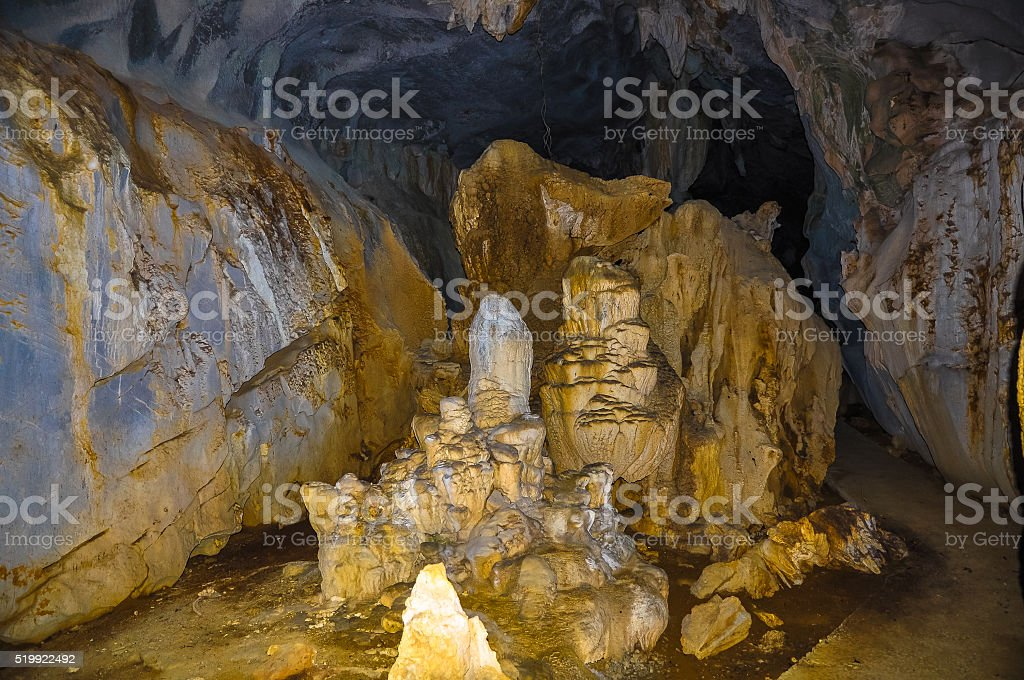Beautiful bowels of the cave on Cat Ba island stock photo
