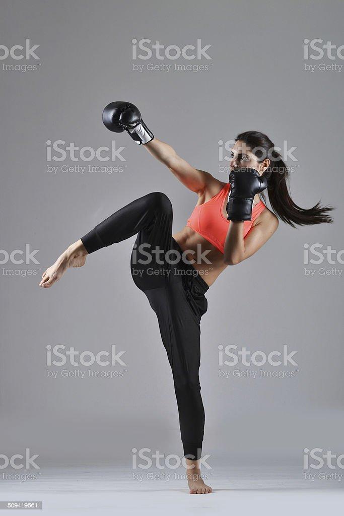 beautiful  boxing woman stock photo