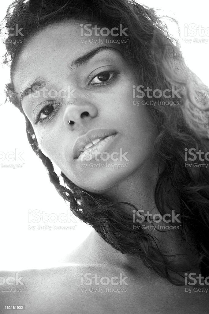 Beautiful Brasilian girl look into camera stock photo