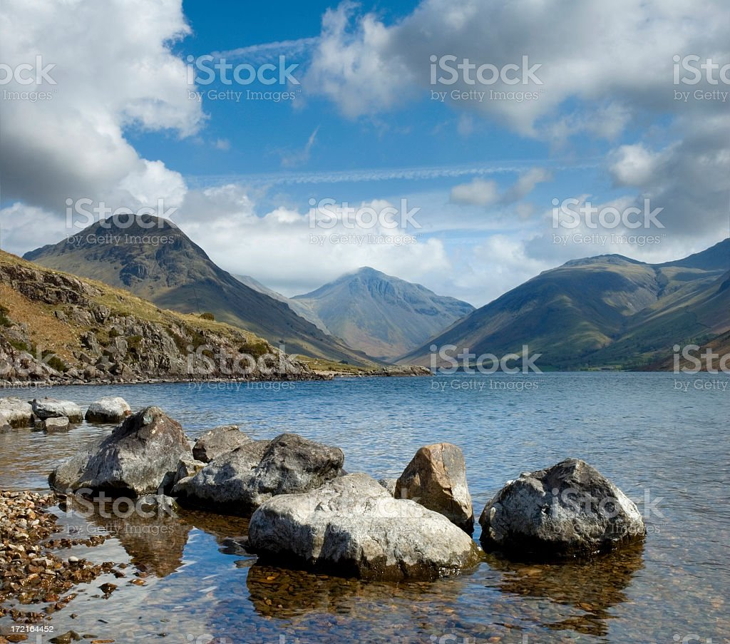 Beautiful breathtaking view of natural waterbed in daylight stock photo