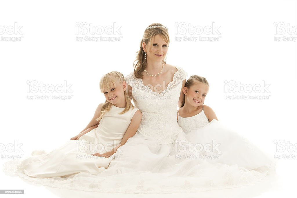 Beautiful Bride and Flower Girls stock photo