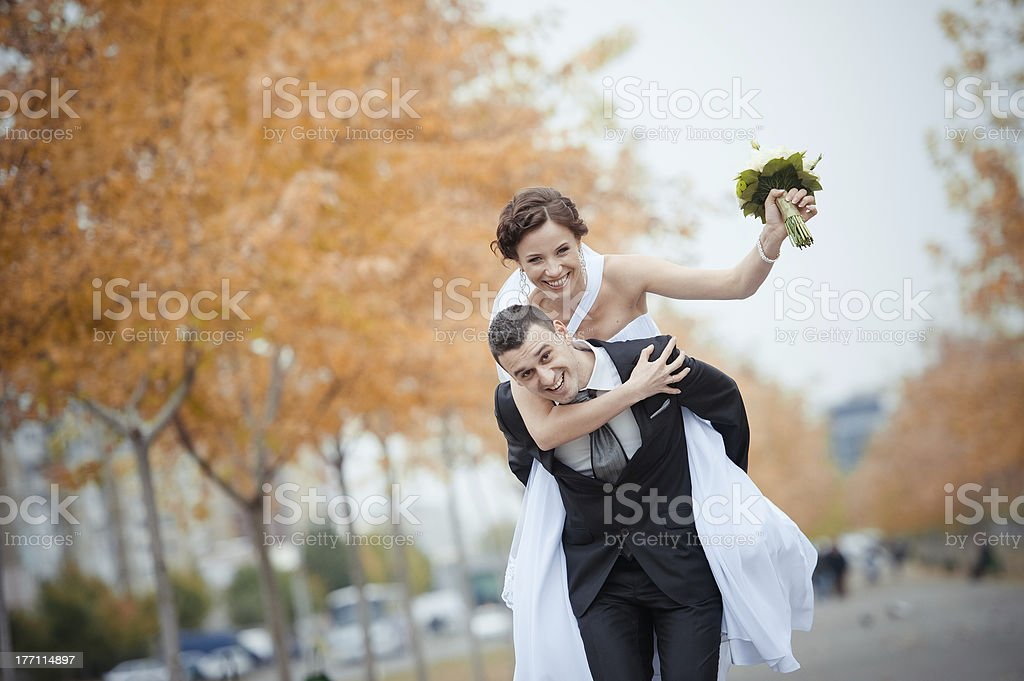 Beautiful bride and groom royalty-free stock photo