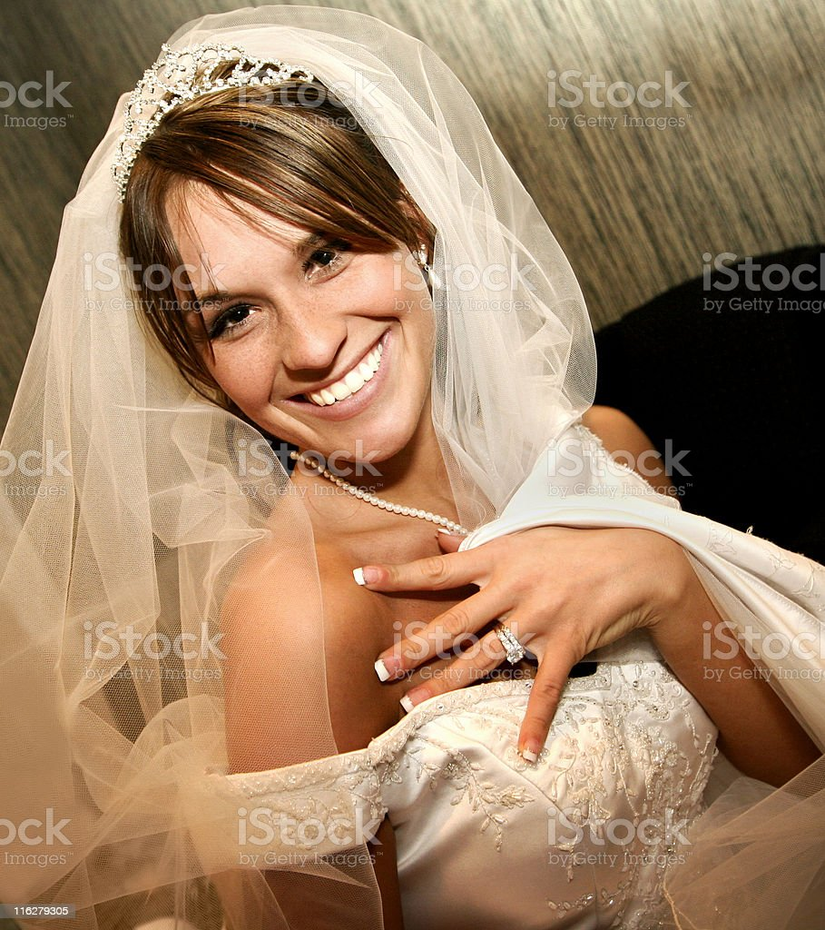 Beautiful Bride Happy Girl Wedding Ring Veil stock photo