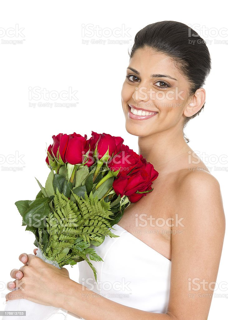 Beautiful Bride Holding Bouquet of Red Roses (Isolated) stock photo