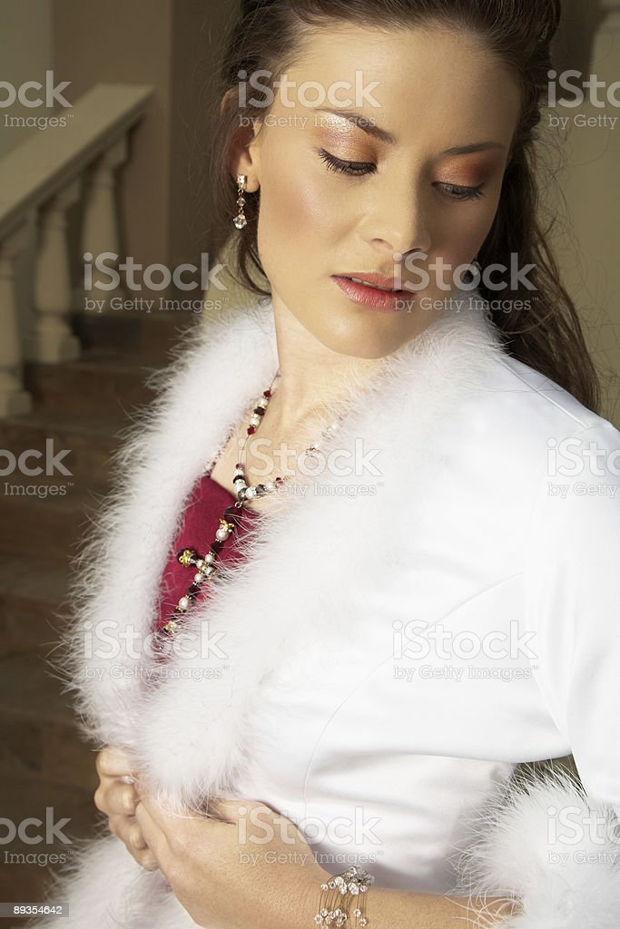 Beautiful bride in red and white royalty-free stock photo