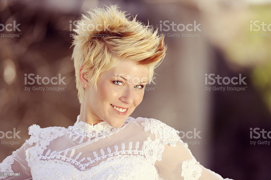 Beautiful Bride In Sheer White Lace Dress stock photo