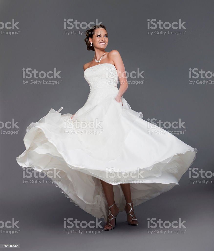 Beautiful Bride in the Studio Looking Happy stock photo