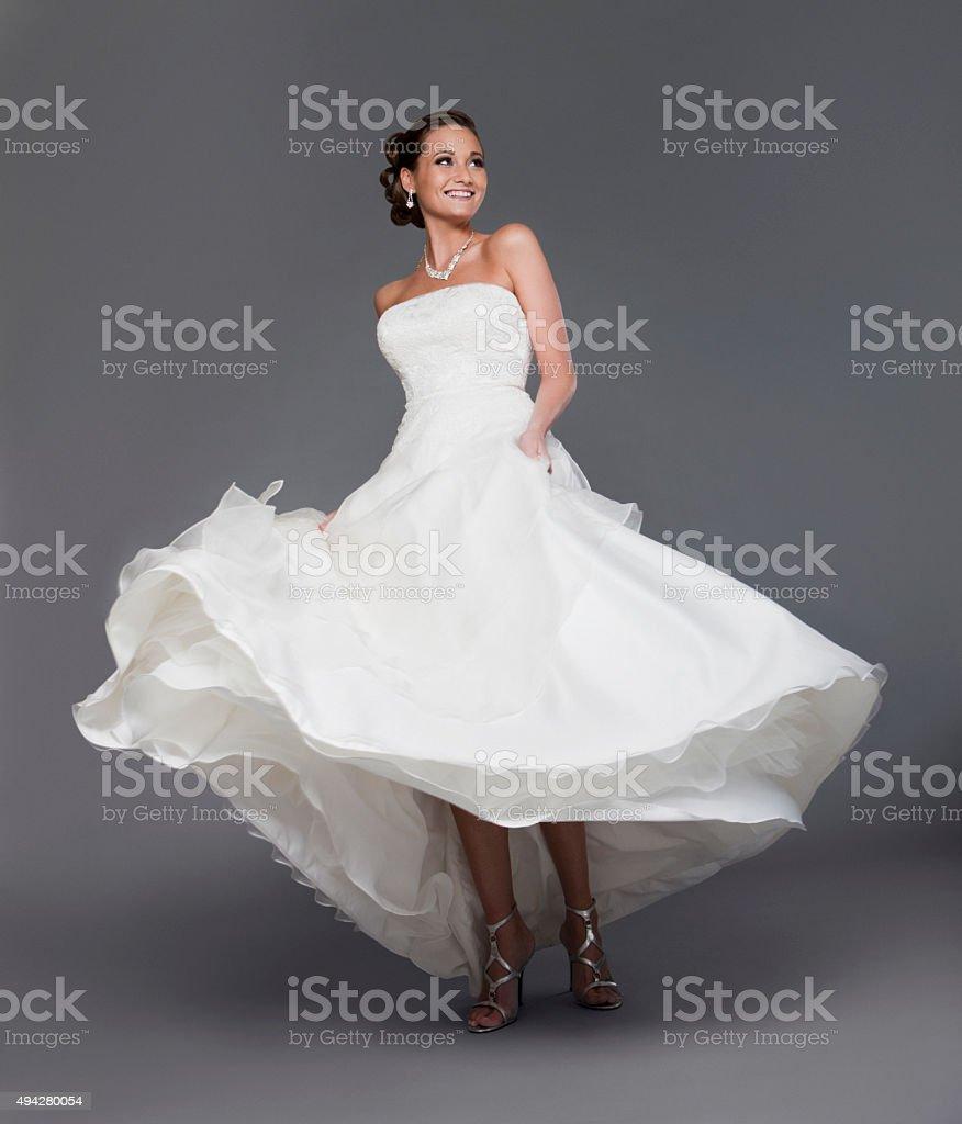 Beautiful Bride in the Studio Looking Happy stock photo