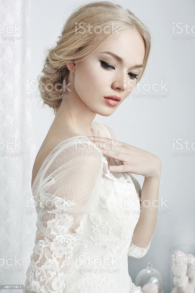 beautiful bride in white dress stock photo