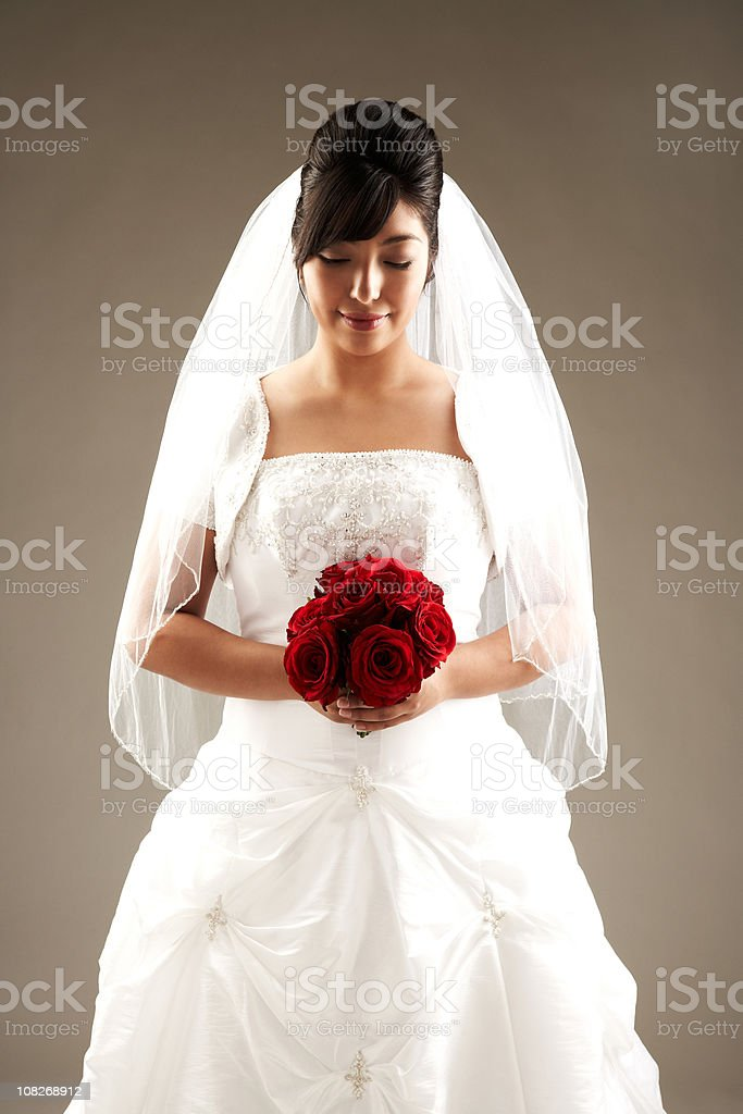 Beautiful Bride Looking Down and Smiling. stock photo