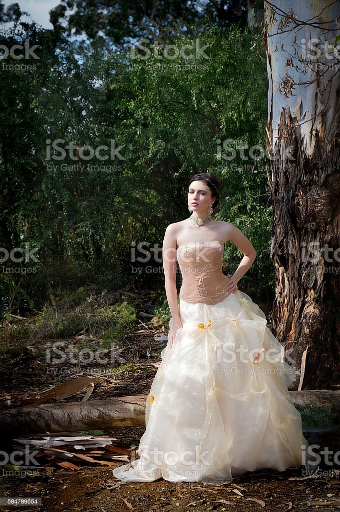 Beautiful bride next to tree in forest stock photo