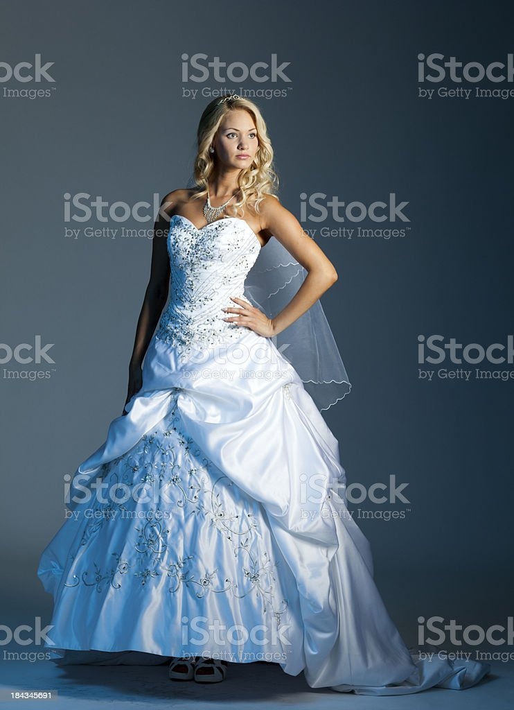 Beautiful bride on gray background royalty-free stock photo