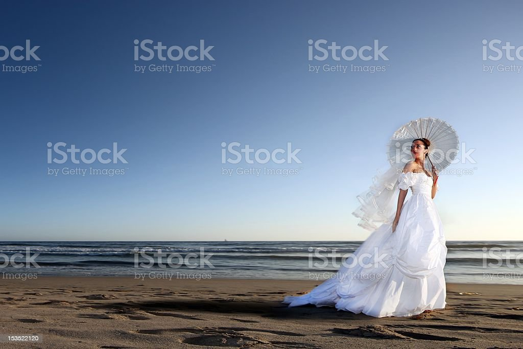 Beautiful Bride on the Beach for Her Wedding Day royalty-free stock photo