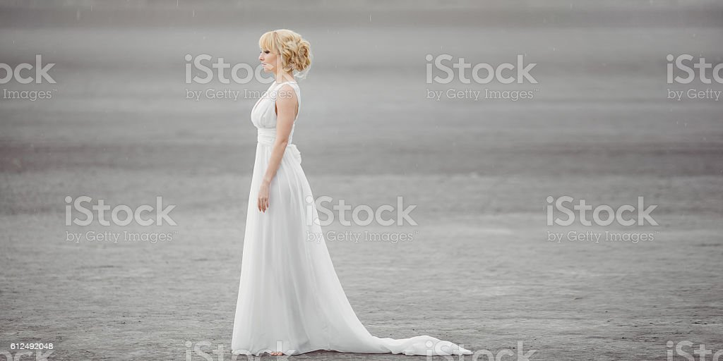 Beautiful bride outdoors in a desert. stock photo