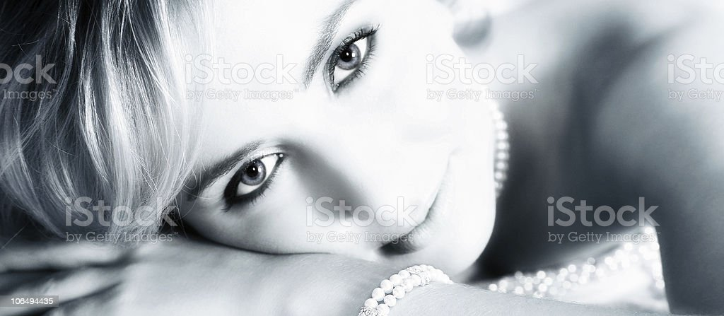 Beautiful bride  portrait in blue sepia royalty-free stock photo