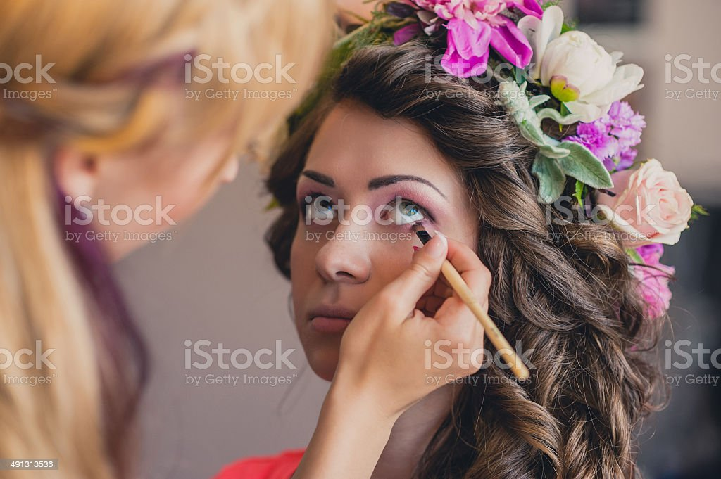 Beautiful Bride Portrait wedding makeup stock photo