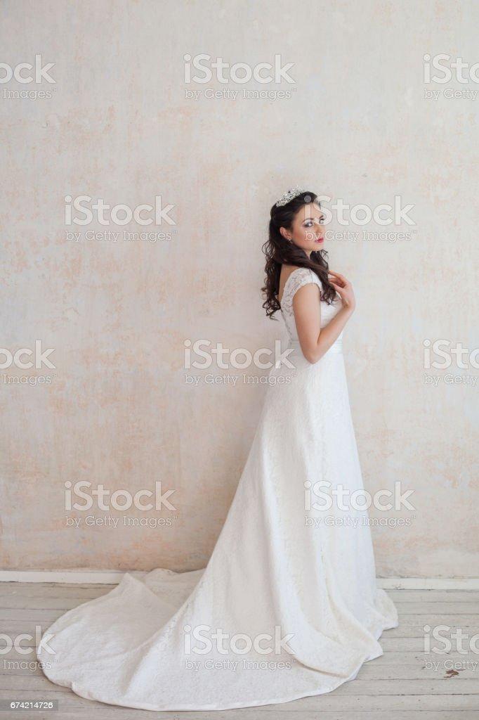 beautiful bride posing wedding hairstyle and dress stock photo
