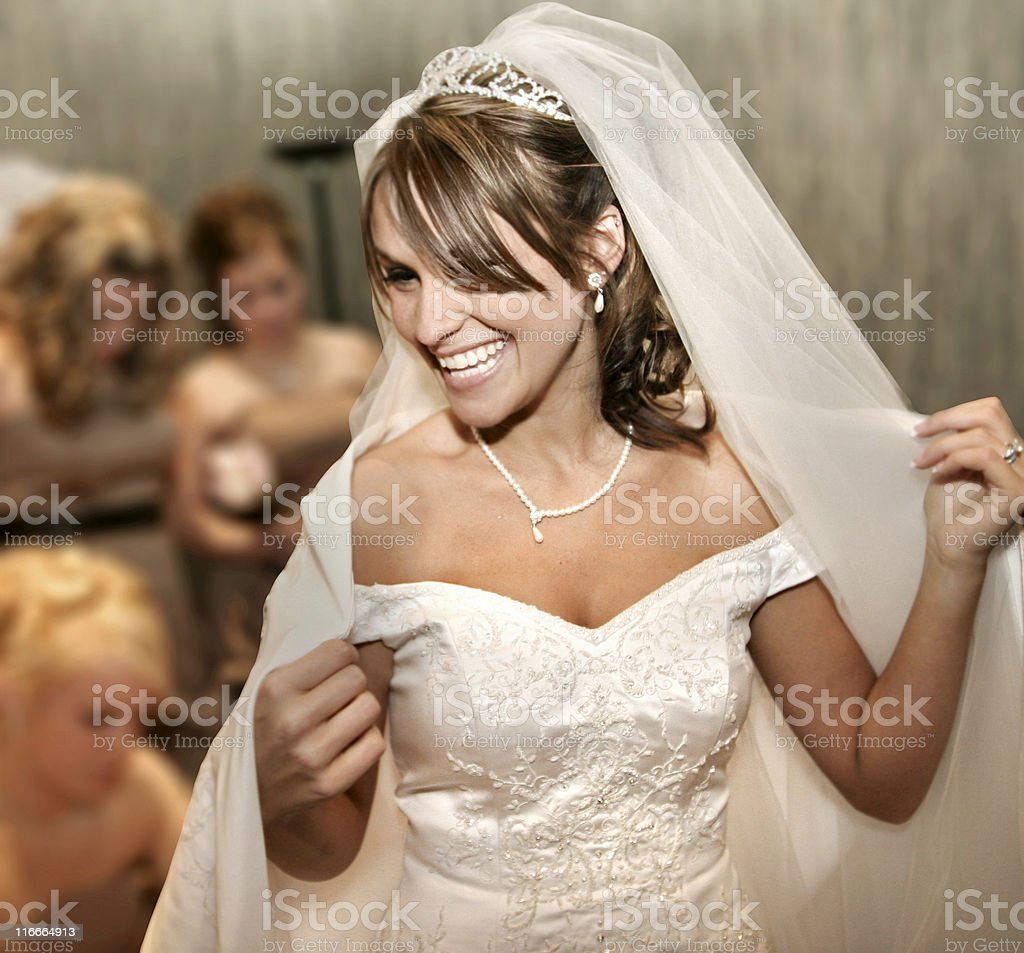 Beautiful Bride Smiling White Teeth Wedding Dress royalty-free stock photo