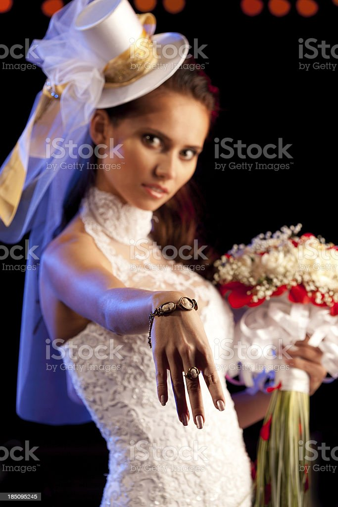 Beautiful Bride with a Bouquet  and Jewelry. stock photo