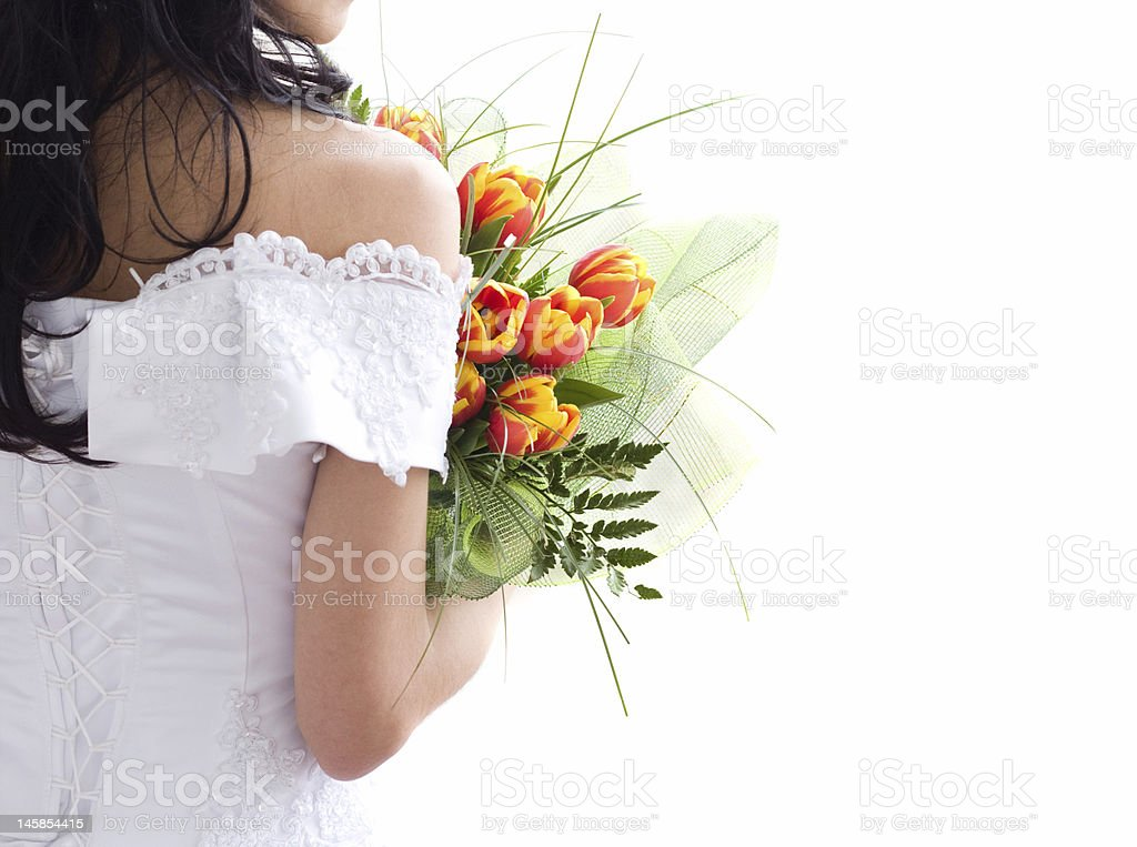 Beautiful bride with bunch of tulips royalty-free stock photo