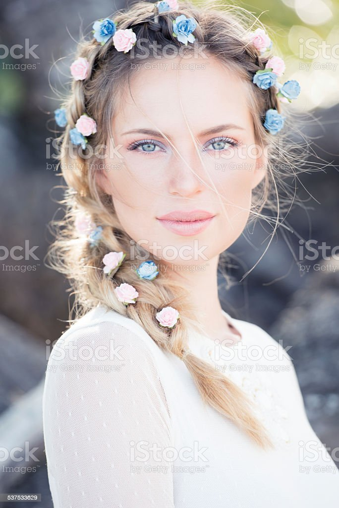 Beautiful Bride with Flowers in her Hair stock photo