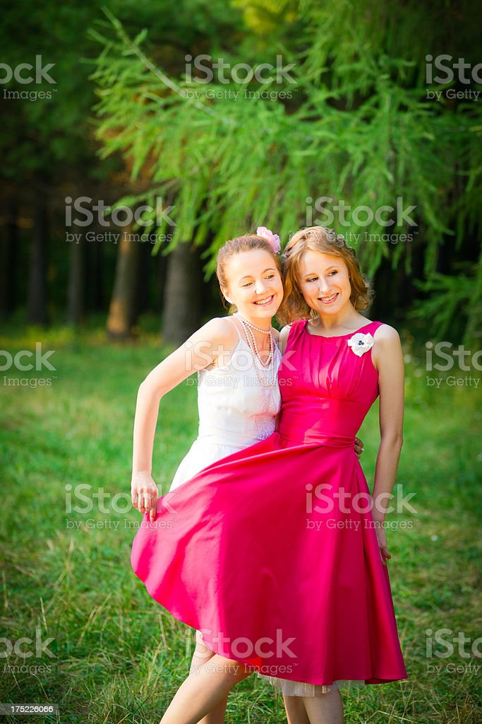 Beautiful bride with her best friend royalty-free stock photo