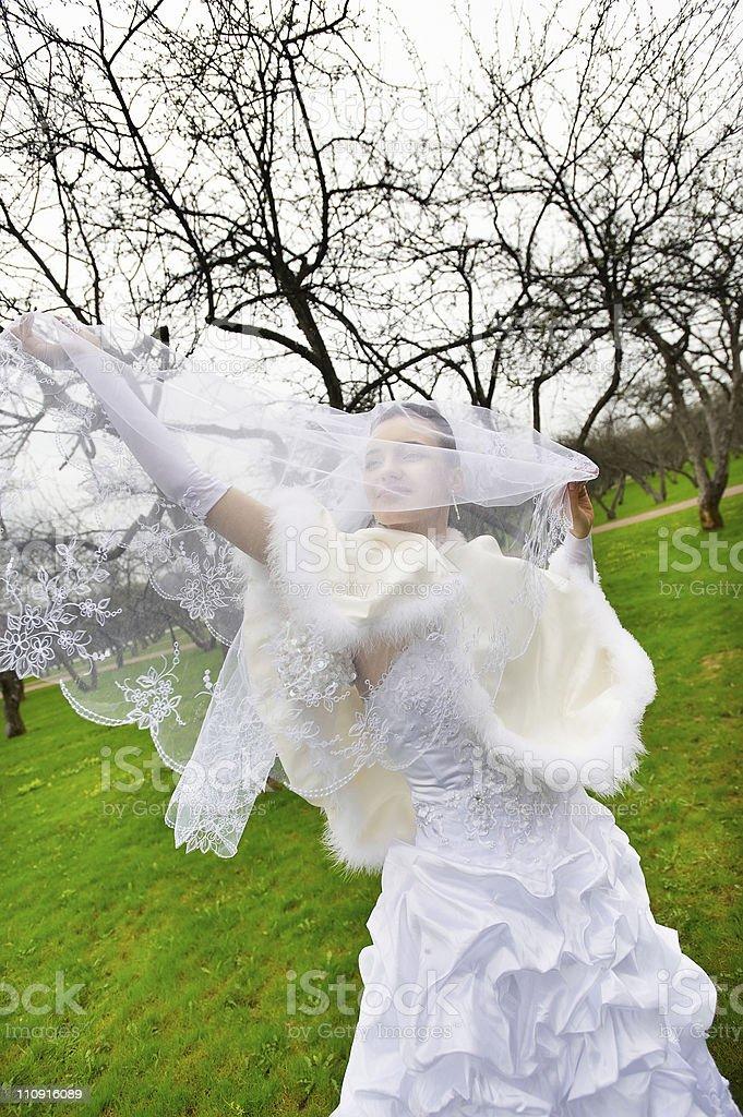 Beautiful bride with veil in wedding walk stock photo