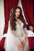 Beautiful Bride woman wedding Portrait with curly hair style