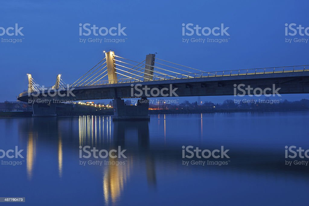 Beautiful bridge over Drava in Ptuj long exposure by night stock photo