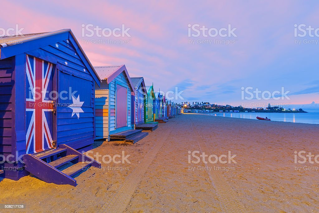 Beautiful Brighton bathing houses, Australia stock photo