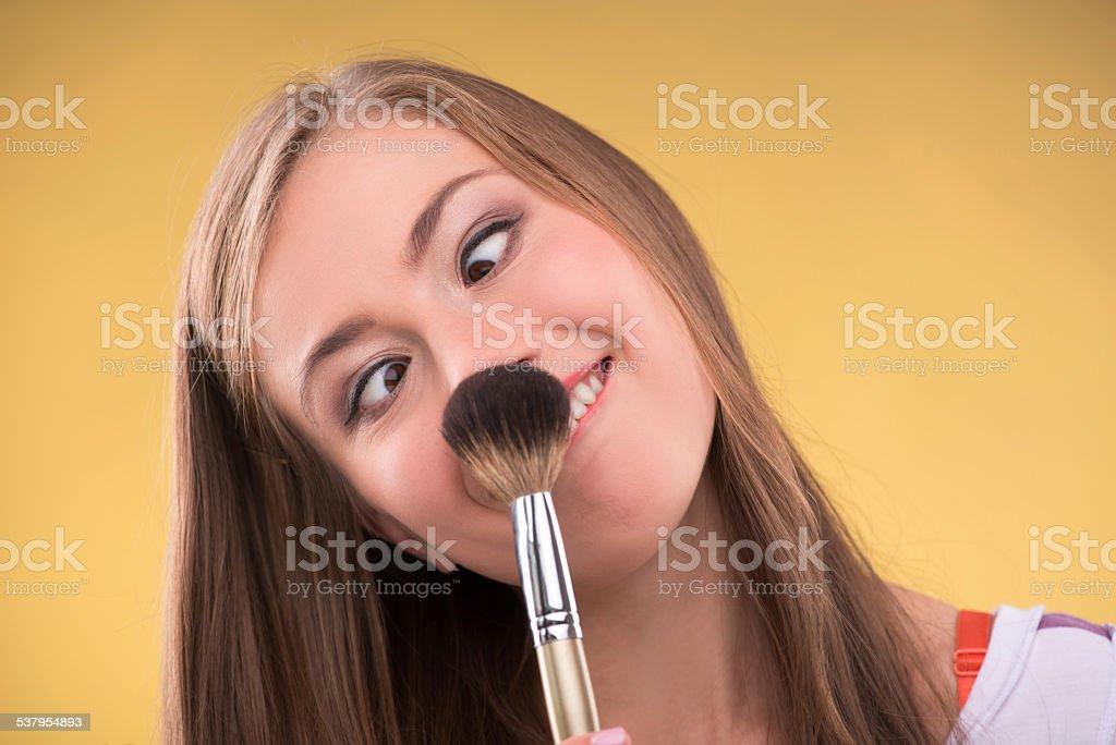 Beautiful brown haired girl stock photo