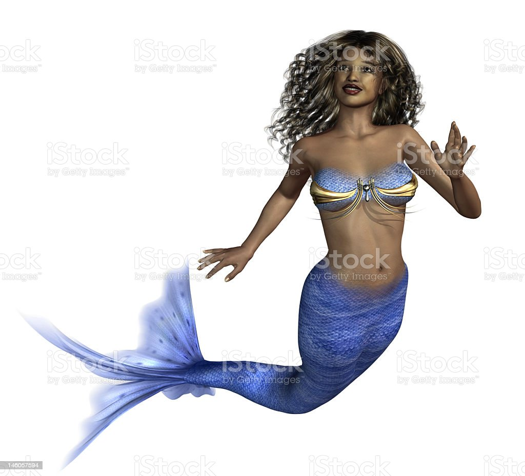 Beautiful brunette African mermaid on white background royalty-free stock photo
