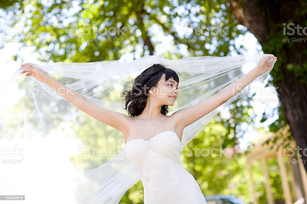 Beautiful Smiling Bride with Veil Outside on Sunny Day royalty-free stock photo
