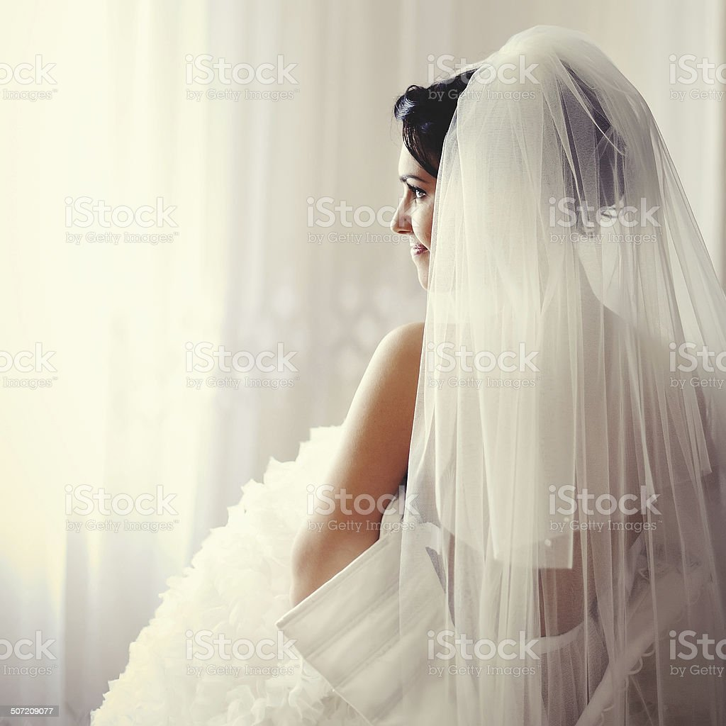 Beautiful Brunette bride is getting ready stock photo