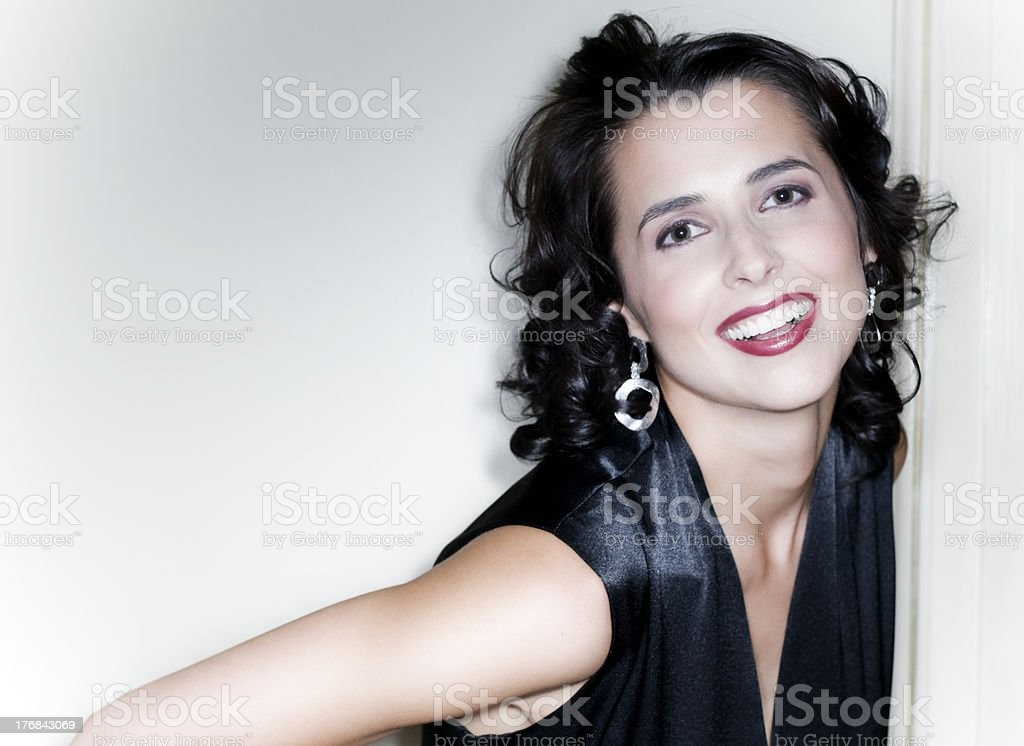Beautiful Brunette, Classic Beauty, Haute Couture royalty-free stock photo
