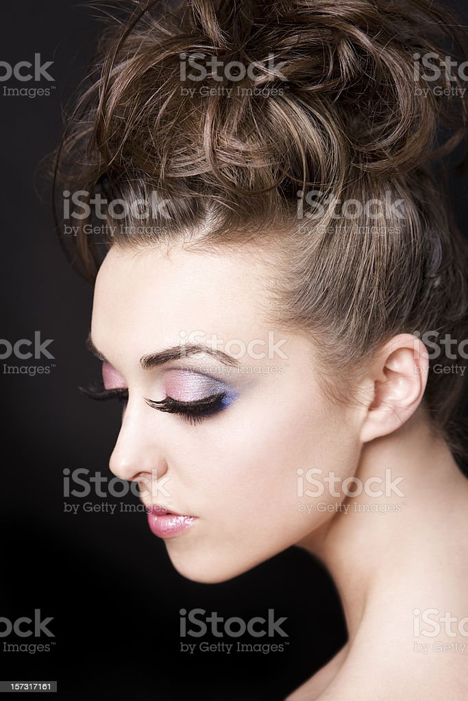 Beautiful Brunette Fashion Model in False Eyelashes and Updo, Portrait royalty-free stock photo